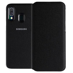 Protect your Samsung Galaxy A40's back, sides and screen from harm while keeping your most vital cards close to hand with the official flip wallet cover in Black from Samsung.