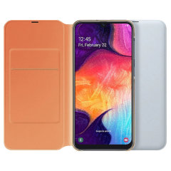 Protect your Samsung Galaxy A50's back, sides and screen from harm while keeping your most vital cards close to hand with the official flip wallet cover in White from Samsung.