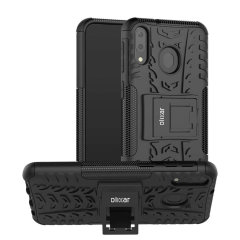 Protect your Samsung Galaxy M20 from bumps and scrapes with this black ArmourDillo case from Olixar. Comprised of an inner TPU case and an outer impact-resistant exoskeleton, with a built-in viewing stand.