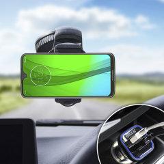 Houd je telefoon veilig in je auto met deze volledig verstelbare DriveTime-autohouder voor je Motorola Moto G7 Plus.