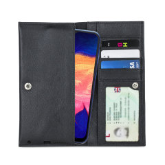 Crafted from premium quality genuine leather, with precision stitching and stud closure, and featuring a luxurious soft lining, document pockets and card slots, the Primo Wallet for the Samsung Galaxy A10 will protect your phone in style.
