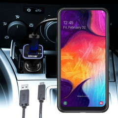 Keep your Samsung Galaxy A50 fully charged on the road with this compatible Olixar high power dual USB 3.1A Car Charger with an included high quality  1m USB to USB-C charging cable.