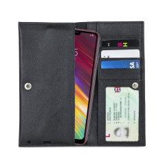 Fabricada con piel auténtica de alta calidad, con un acabado perfecto, esta funda-cartera de Olixar le dará un toque elegante a su LG Q9 y le permitirá llevar documentos, dinero en efectivo, y más.