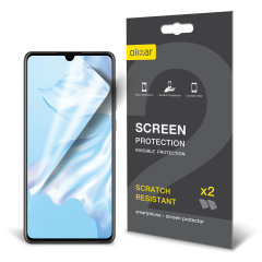 Keep your Huawei P30's screen in pristine condition with this Olixar scratch-resistant screen protector 2-in-1 pack.
