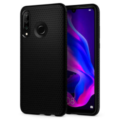 The Spigen Liquid Air in matte black is a TPU lightweight protective case. Spigen's flexible and elastic material reduces the thickness of the case while providing shock absorption and a comfortable grip for your shiny new Huawei P30 Lite.