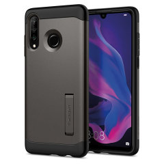 The Slim Armor case for the Huawei P30 Lite in gun metal has shock absorbing technology specifically incorporated to protect the device from impacts from any angle.