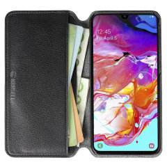 Krusell's Pixbo 4 Card Slim Wallet vegan leather case in Black combines Nordic chic with Krusell's values of sustainable manufacturing for the socially-aware Samsung Galaxy A40 owner who seeks 360° protection with extra storage for cash and cards.