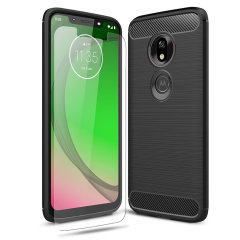 Flexible rugged casing with a premium matte finish non-slip carbon fibre and brushed metal design, the Olixar Sentinel case in black keeps your Moto G7 Play protected from 360 degrees with the added bonus of a tempered glass screen protector.
