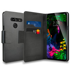 The Olixar leather-style LG G8 Wallet Case in black attaches to the back of your phone to provide superb enclosed protection and can also be used to hold your credit cards. So you can leave your other wallet home as this case has it all covered.