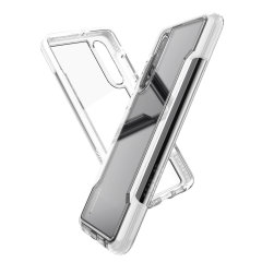 The X-Doria Defense clear with white frame and clear back is an incredibly stylish and protective case for your Huawei P30. Tested to survive 10ft drops onto concrete the Defense Clear provides excellent protection.