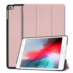 Protect your iPad Mini 2019 with this fantastic Rose Gold leather-style stand case. The frame folds out to become a media viewing stand, perfect for streaming videos or gaming.