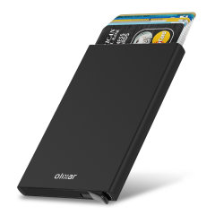 Protect your most valuable cards with this RFID-blocking card holder in black from Olixar. This stylish and lightweight aluminium wallet is capable of holding between 5 and 7 cards, and features an easy release switch.