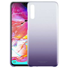 Protect your Samsung Galaxy A70 with this Official Gradation case in Violet. This Official Samsung case is lightweight and transparent giving you a Stylish yet protective accessory case which is perfect for your Galaxy A70.