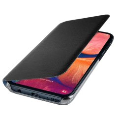 Protect your Samsung Galaxy A20e's back, sides and screen from harm while keeping your most vital cards close to hand with the official flip wallet cover in Black from Samsung.