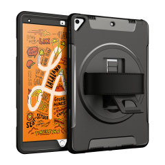 The Olixar Rugged Case in black provides full body protection for your iPad Mini 2019, with a built-in stand and convenient hand strap for portability. Additionally the provided shoulder strap adds for further convenience.
