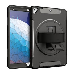 The Olixar Rugged Case in black provides full body protection for your iPad Pro Air 2019, with a built-in stand and convenient hand strap for portability.