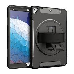 La robusta custodia Olixar Rugged Case in nero offre una protezione totale del corpo per il tuo iPad Pro Air 2019, con un supporto integrato e una comoda cinghia per la portabilità.