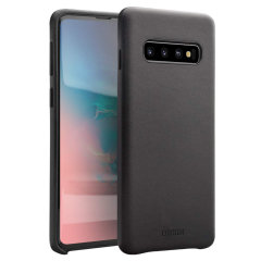 Crafted from premium genuine leather, this exquisite black case from Olixar for the Samsung Galaxy S10 provides stunning style and prestigious protection for your phone in a slim and sleek package.