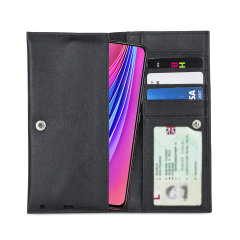 Crafted from premium quality genuine leather, with precision stitching and stud closure, and featuring a luxurious soft lining, document pockets and card slots, the Primo Wallet for the Vivo V15 Pro will protect your phone in style.