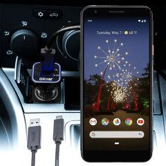 Houd je Google Pixel 3 Lite volledig opgeladen op de weg met deze compatibele Olixar-oplader voor high power-auto's.