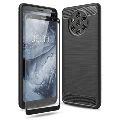 Flexible rugged casing with a premium matte finish non-slip carbon fibre and brushed metal design, the Olixar Sentinel case in black keeps your Nokia 9 Pureview protected from 360 degrees with the added bonus of a tempered glass screen protector