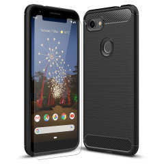 Premium Matte Finish Anti-slip Kulfiber og børstet metal design med fleksibel robust taske, sort Olixar Sentinel taske med forbedret beskyttelsesfolie beskytter Google Pixel 3a XL fra 360 grader