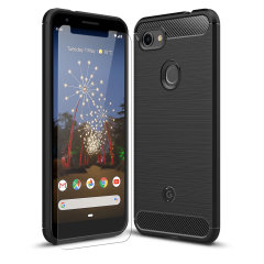 Flexible rugged casing with a premium matte finish non-slip carbon fibre and brushed metal design, the Olixar Sentinel case in black keeps your Google Pixel 3a protected from 360 degrees with the added bonus of a tempered glass screen protector.
