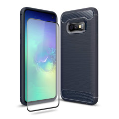 Flexible rugged casing with a premium matte finish non-slip carbon fibre and brushed metal design, the Olixar Sentinel case in blue keeps your Samsung Galaxy S10e protected from 360 degrees with the added bonus of a tempered glass screen protector.