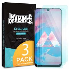 Optically enhanced high definition pack of three glass screen protectors from Rearth Ringke for the Samsung Galaxy M30. Features true touch properties and extended coverage.