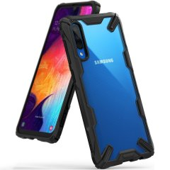 Keep your Samsung Galaxy A50 protected from bumps and drops with the Rearth Ringke Fusion X tough case in Black. Featuring a 2-part, Polycarbonate design, this case lives up to military drop-test standards so you can rest assured that your device is safe