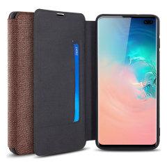 Olixar Canvas Samsung Galaxy S10 Plus Wallet Case - Brown