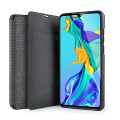 Protect your Huawei P30 with this durable and stylish Grey canvas case by Olixar. What's more, for convenience this case transforms into a stand to view media and includes a card slot.