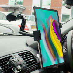 This Galaxy Tab S5e tablet in-car holder from Olixar will secure your device to your car's dashboard or any other surface.  With complete 360 degree movement and fully adjustable arm, you can keep the tablet out of your driving view too.