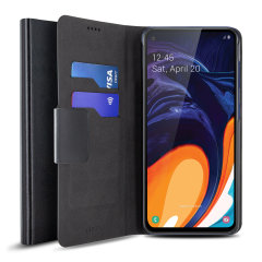 The Olixar leather-style Samsung Galaxy A60  Wallet Case in black attaches to the back of your phone to provide enclosed protection and can also be used to hold your credit cards. So leave your regular wallet at home when you need to travel light.