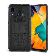 Protect your Samsung Galaxy A30 from bumps and scrapes with this black ArmourDillo case from Olixar. Comprised of an inner TPU case and an outer impact-resistant exoskeleton, with a built-in viewing stand.