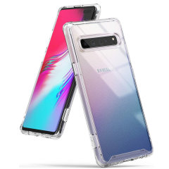 Protect your shiny new  Samsung Galaxy S10 5G  with this Rearth Ringke Fusion Dual Layer bumper case. The clear design will perfectly highlight the stunning contours of the Samsung Galaxy S10, whilst keeping it protected from bumps & scratches at all time