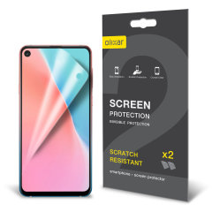 Keep your Samsung Galaxy A60 screen in pristine condition with this Olixar scratch-resistant screen protector 2-in-1 pack.