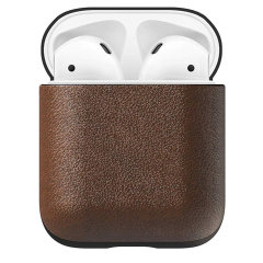 Designed to give your AirPods a classic, yet bold new look. This Rustic Brown, minimalist, two-piece Rugged Case is built with genuine, vegetable-tanned leather from one of America's oldest tanneries.