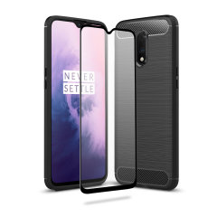 Flexible rugged casing with a premium matte finish non-slip carbon fibre and brushed metal design, the Olixar Sentinel case in black keeps your OnePlus 7 protected from 360 degrees with the added bonus of a tempered glass screen protector.