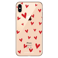 LoveCases iPhone XS Max Hearts Phone Case - Clear Red