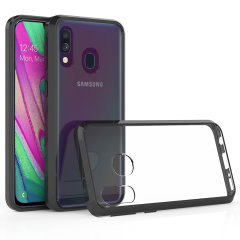 Custom moulded for the Samsung Galaxy A40. This black Olixar ExoShield tough case provides a slim fitting stylish design and reinforced corner shock protection against damage, keeping your device looking great at all times.