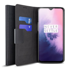 Olixar Leather-Style OnePlus 7 Wallet Stand Case - Black