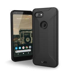 Urban Armor Gear for Google Pixel 3a XL har en beskyttende TPU sak i svart med en børstet metall UAG logo innsats for en fantastisk design