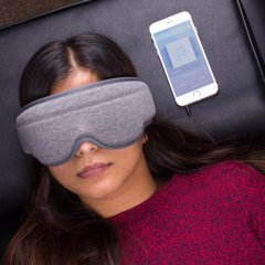 Getting a good night's sleep when you are travelling is tough. rest better with this genius Music Sleep Mask. The mask's thick lining blocks out light around you and the integrated headphones can be popped in your ears to lull you to sleep peacefully.