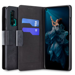 The Olixar Wallet Case in black for the Honor 20 pro provides enclosed protection, a sophisticated leather-style look and can also be used to hold your credit cards. The inner hard shell holds your device securely in place, keeping your Honor 20 Pro safe