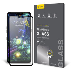 This ultra-thin tempered glass full cover screen protector for the LG V50 ThinQ from Olixar with black front offers toughness, high visibility and sensitivity all in one package.