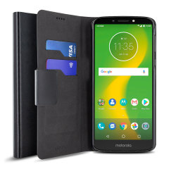 Protect your Motorola Moto E5 Supra with this durable and stylish black leather-style wallet case from Olixar, featuring card slots. What's more, this case transforms into a handy stand to view media.