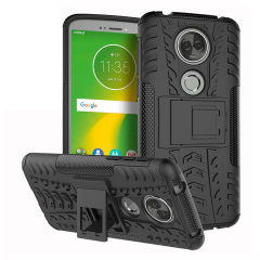 Protect your Motorola Moto E5 Supra from bumps and scrapes with this black ArmourDillo case. Comprised of an inner TPU case and an outer impact-resistant exoskeleton, the Armourdillo offers sturdy and robust protection.