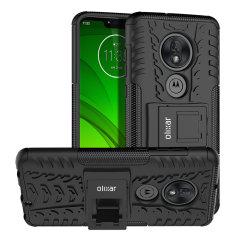 Protégez votre Motorola Moto G7 Supra des chocs et des éraflures grâce à cette coque Olixar ArmourDillo en coloris noir. Cette coque est composée d'un boîtier interne en TPU et d'un exosquelette externe résistant aux impacts. Elle comprend par ailleurs un support de visualisation intégré.