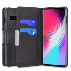 Protect your Samsung Galaxy S10 5G with this durable and stylish black leather-style wallet case by Olixar. What's more, this case transforms into a handy stand to view media.